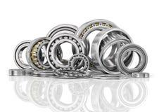 Uppsättning av stålkullager i closeup Fotografering för Bildbyråer