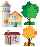 Uppsättning av stads- byggnader och trädet stock illustrationer
