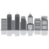 Uppsättning av stadsbyggnader Arkivfoton