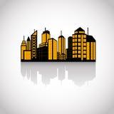 Uppsättning av stadssilhouetten Arkivfoto