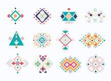 Uppsättning av stam- aztec symboler för ethno färgrik geometrisk etnisk dekorbeståndsdelsamling stock illustrationer