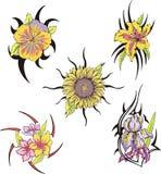 Uppsättning av stam- blommatatueringar Arkivfoton
