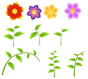 Uppsättning av stammar med blommor, designbeståndsdel för vår Royaltyfria Bilder