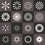 Uppsättning av starburstform på svart bakgrund Arkivbild