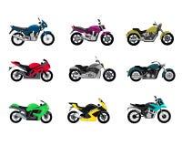 Uppsättning av stil för motorcykeldesignlägenhet royaltyfri illustrationer