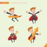 Uppsättning av stil för teckningslägenhettecken, för kontorsarbetare för affärsidé unga aktiviteter stock illustrationer