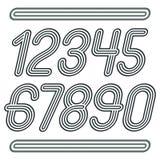Uppsättning av stilfulla diskovektorsiffror, modern talsamling Skraj kursiva tal från 0 till 9 som är bästa för bruk i affischkon stock illustrationer
