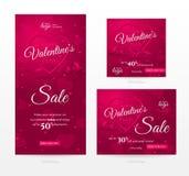 Uppsättning av stilfulla försäljningsbaner av olika format för lycklig dag för valentin` s Royaltyfri Foto