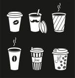 Uppsättning av stilfulla kaffekoppar Stock Illustrationer