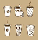 Uppsättning av stilfulla kaffekoppar vektor illustrationer