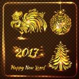 Uppsättning av stilfulla symboler för nytt år på genomskinlig rutig backgro Royaltyfri Illustrationer