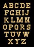 Uppsättning av stiliserade guld- texturbokstäver med den metalliska glans och slaglängden stock illustrationer