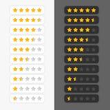 Uppsättning av stjärnavärderingssymboler Arkivbild