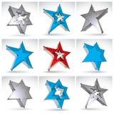 Uppsättning av stjärnor för ingrepp 3d på vit bakgrund Arkivfoton
