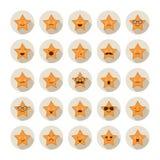 Uppsättning av stjärnor med olika sinnesrörelser Royaltyfri Foto