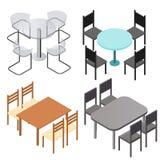 Uppsättning av stolar och och tabeller Plant isometriskt Arkivfoton