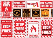 Uppsättning av stoppbrandsymboler (var medveten, är klart, är förbereder sig, räddningliv, brandsäkerhet, förhindrar brand, aktio Arkivbild