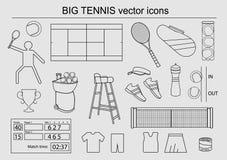 Uppsättning av stora tennissymboler Arkivbild