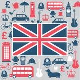 Uppsättning av Storbritannien symboler Arkivfoto