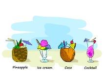 Uppsättning av strandcoctailar och glass, vektorillustration, vid handen stock illustrationer