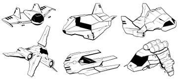Uppsättning av stridrymdskepp Vektorillustration 3 stock illustrationer