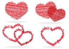 Uppsättning av stylized hjärtor Royaltyfri Bild
