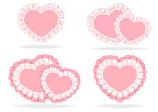 Uppsättning av stylized hjärtor Arkivfoton