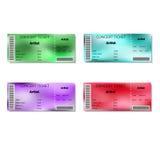 Uppsättning av suddiga konsertbiljetter för färg Royaltyfria Bilder