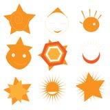 Sun designbeståndsdelar vektor illustrationer