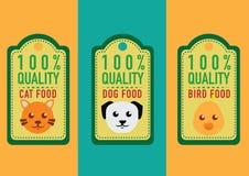 Uppsättning av sunda etiketter och klistermärkear för älsklings- mat royaltyfri illustrationer
