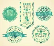 Uppsättning av sunda livsstiletiketter och tecken Arkivbild