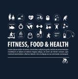 Uppsättning av sunda livsstilsymboler Arkivbilder