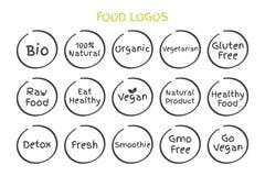 Uppsättning av sunda matlogoer Råkost för Bio 100% naturlig organisk vegetarisk gluten för vektorn äter fri den sunda strikt vege Royaltyfri Foto