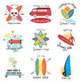 Uppsättning av surfa och skateboarding logo- och designbeståndsdelar för tappning Arkivfoton