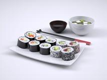 Uppsättning av sushi och makirulle Royaltyfri Fotografi