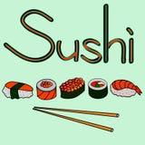 Uppsättning av sushi och rullar, vektorillustration Royaltyfri Fotografi