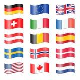 Uppsättning av svängde landsflaggor Arkivbilder