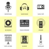 Uppsättning av svart musik och solida symboler Arkivbilder
