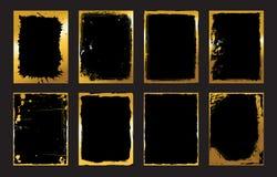 Uppsättning av svart och guld- designmallar för broschyrer, reklamblad, baner Infographic moderna abstrakt bakgrunder Royaltyfria Bilder