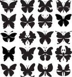 Uppsättning av svart silhouettes av fjärilar Variation av stiliserade former Arkivfoto