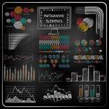 Uppsättning av svart tavlainfographics- och affärssymboler. Arkivfoton
