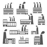 Uppsättning av svart-vit fabrikssymboler Royaltyfri Bild