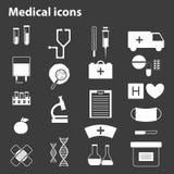 Uppsättning av svart-vit läkarundersökningsymboler Arkivbilder