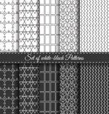Uppsättning av svart vit Pattern6 Arkivfoto