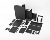 Uppsättning av svarta beståndsdelar för design för företags identitet på en vit b royaltyfri fotografi