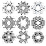 Uppsättning av svarta cirkelprydnadmodeller vektor illustrationer