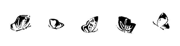 Uppsättning av svarta fjärilar på vit bakgrund Isolerad vektor Royaltyfri Foto