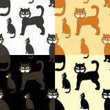 Uppsättning av svarta katter för vykort också vektor för coreldrawillustration Royaltyfri Foto