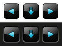 Uppsättning av svarta knappar royaltyfri illustrationer