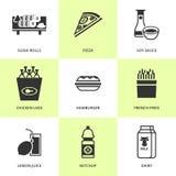 Uppsättning av svarta livsmedelsbutik- och matsymboler Royaltyfri Bild